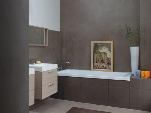 idée deco salle de bain gris et beige