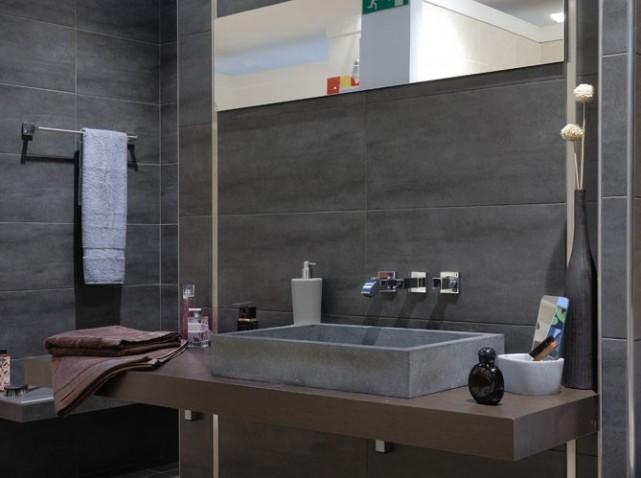 Photo deco salle de bain gris et beige