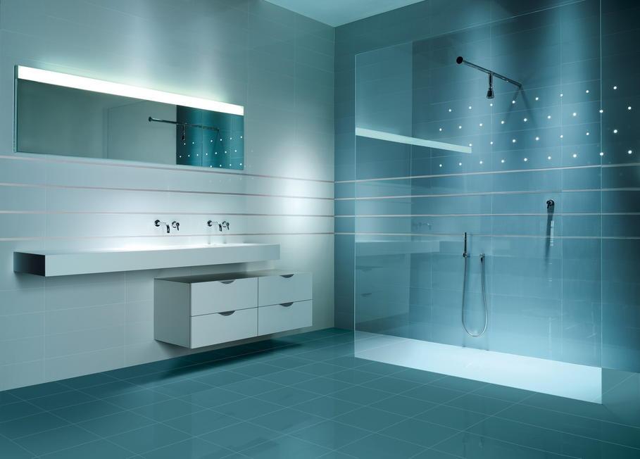 idée deco salle de bain gris et bleu - Salle De Bain Bleu Et Gris