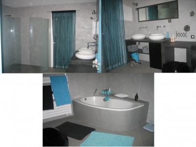 univers deco salle de bain gris et turquoise