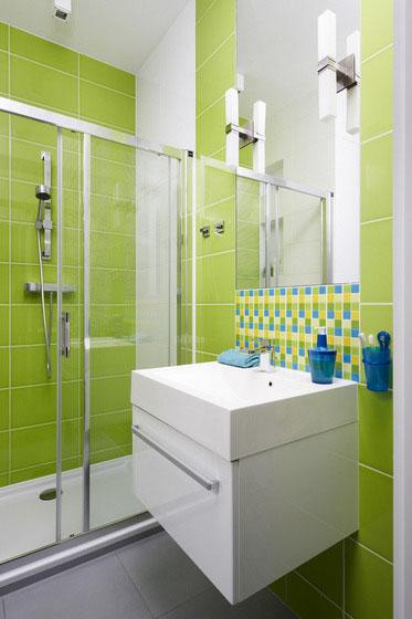 aménagement deco salle de bain gris et vert - Salle De Bain Verte Et Grise
