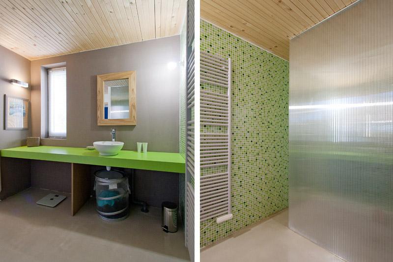 Jolie deco salle de bain gris et vert - Photo Déco