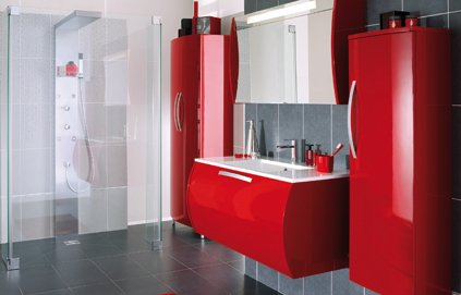 deco salle de bain meuble rouge. Black Bedroom Furniture Sets. Home Design Ideas