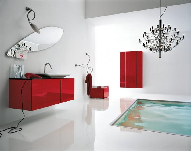 Deco salle de bain rouge et blanc for Decoration salle de bain rouge
