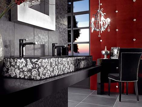 Photo deco salle de bain rouge et noir