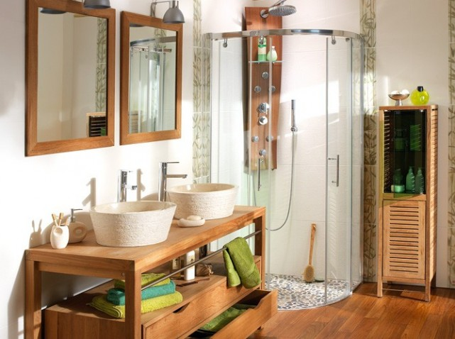 deco salle de bains bois. Black Bedroom Furniture Sets. Home Design Ideas