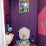 deco wc gris et violet