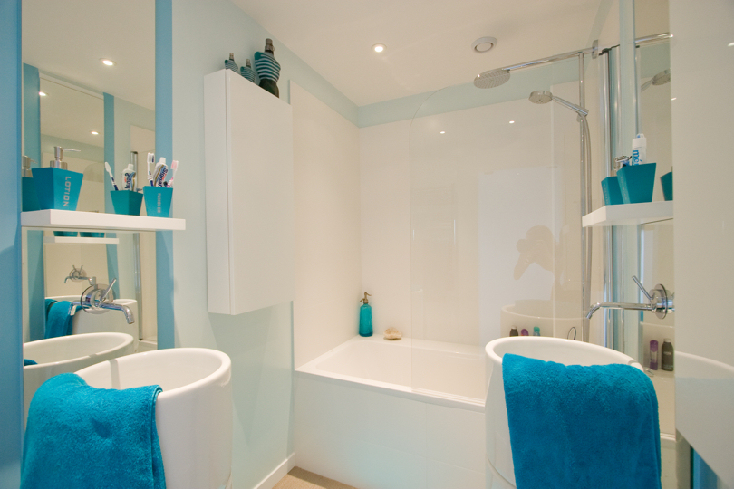 exemple décoration salle de bain bleu et rose