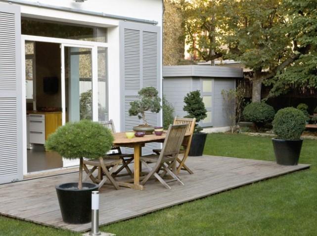 belle décoration terrasse bois exterieur