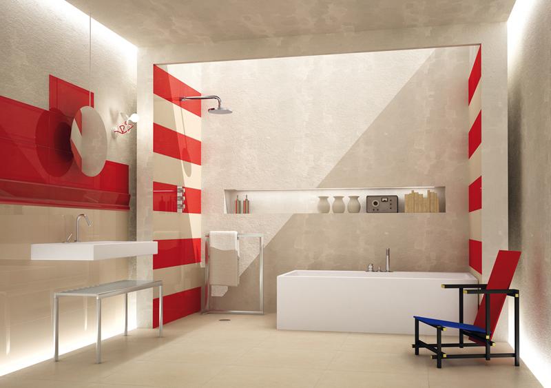 Belle Faience Salle De Bain Rouge Et Blanc