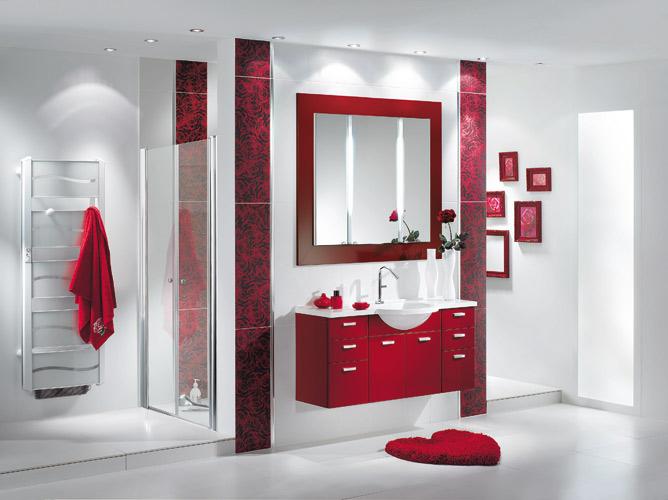 Faience salle de bain rouge et blanc - Organisation salle de bain ...