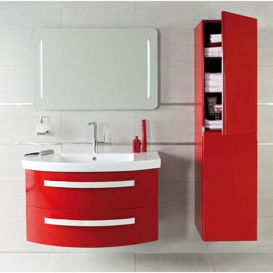 idée meuble salle de bain rouge et blanc
