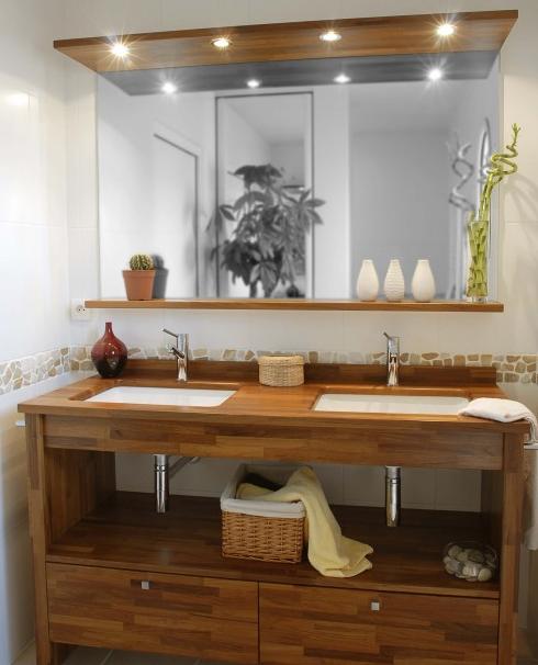 Photo meuble salle de bain zen bois