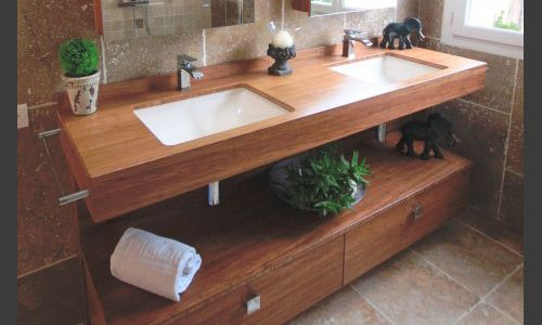 Salle De Bain En Bois Naturel Great Cuisine Equipee Pour Petit - Meuble de salle de bain en bois naturel