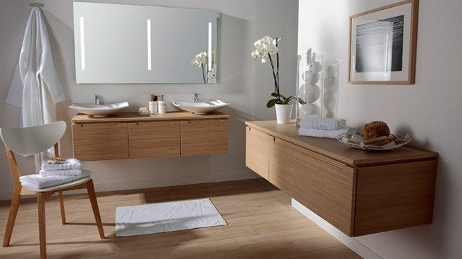 Jolie meuble salle de bain zen bois