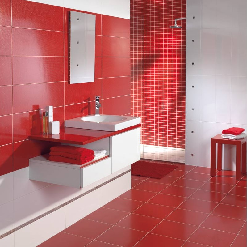 Modele salle de bain rouge et blanc for Salle de bain exemple amenagement