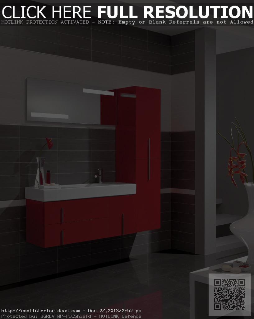Photo modele salle de bain rouge et blanc
