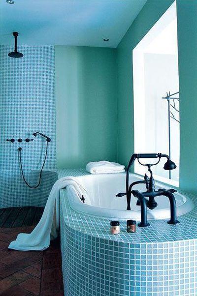 Photo peinture salle de bain bleu turquoise - Photo Déco