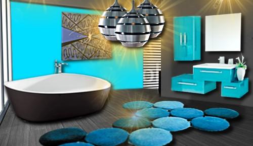 Photo peinture salle de bain bleu turquoise