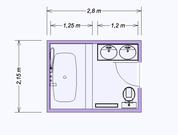 Salle de bain 5m2 plan for Salle de bain 6m2 plan