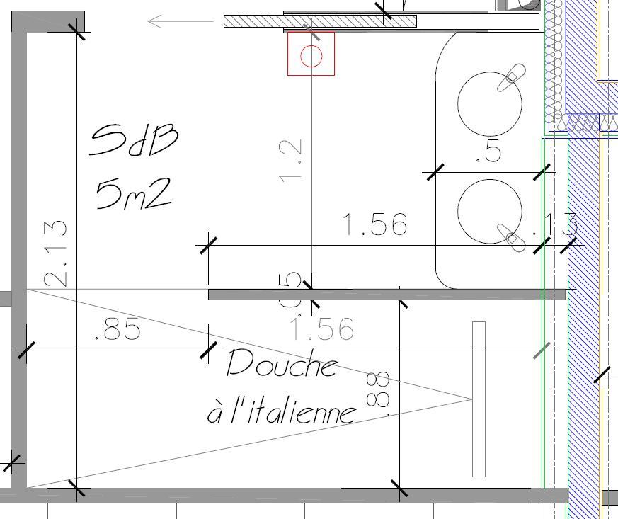 Salle de bain 5m2 plan for Plan amenagement salle de bain 6m2