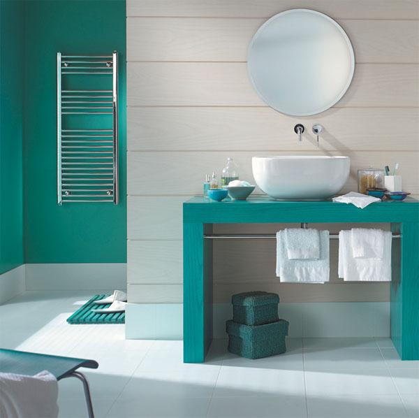 Parfait Modèle Salle De Bain Bleu Turquoise