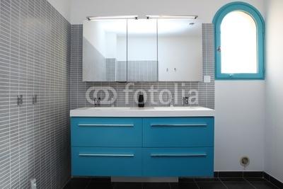 Photo salle de bain bleu turquoise et blanc - Photo Déco