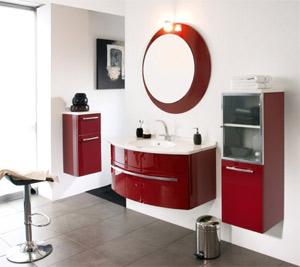 Salle de bain rouge blanc et gris for Salle de bain rouge et blanc