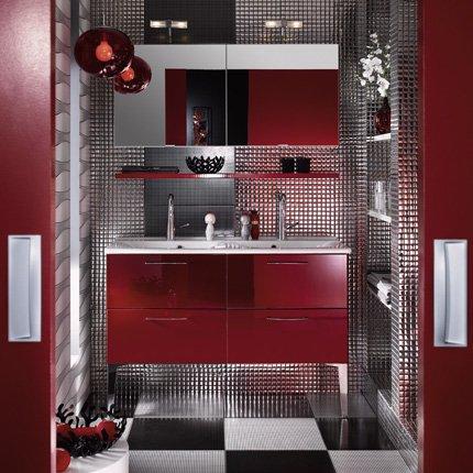 exemple salle de bain rouge et beige - Photo Déco