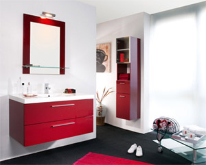 photo decoration salle de bain rouge et beige. Black Bedroom Furniture Sets. Home Design Ideas