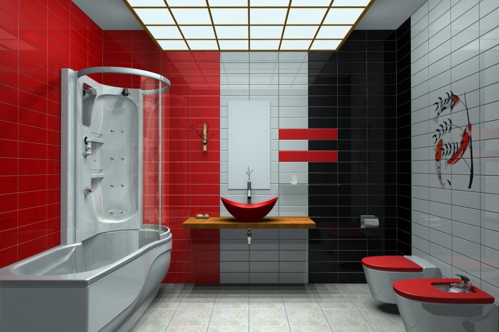 Salle de bain rouge noire et blanc for Salle de bain aubergine et blanc