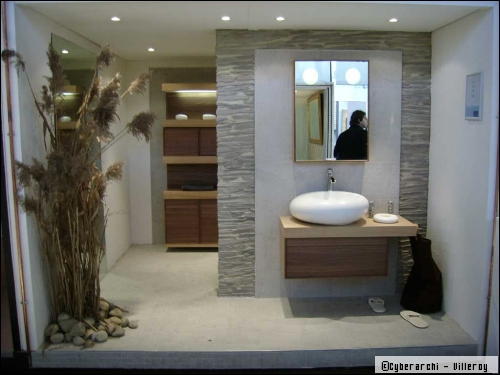 aménagement salle de bain zen bois