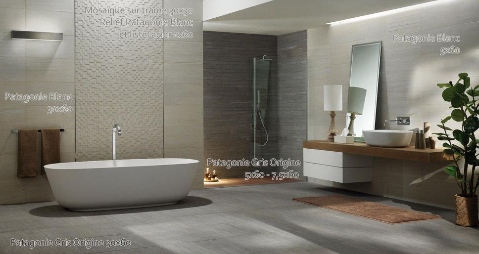 salle de bains carrelage gris. Black Bedroom Furniture Sets. Home Design Ideas