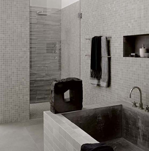 photo salle de bains carrelage gris - Salle De Bain Carrelage Gris Et Blanc