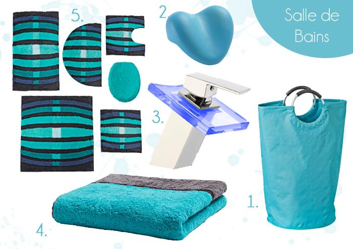 Tapis salle de bain bleu turquoise - Salle de bain couleur bleu ...