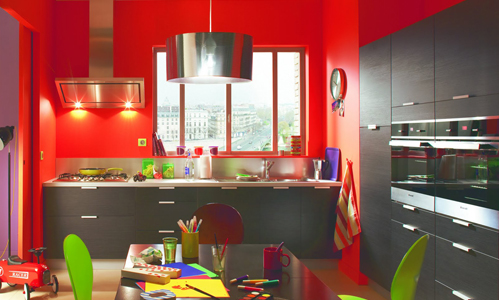 d co cuisine jaune et rouge. Black Bedroom Furniture Sets. Home Design Ideas