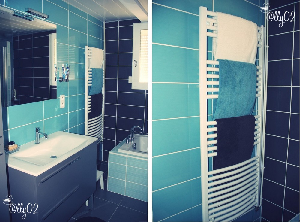 Baignoire bleue paris design - Carrelage bleu turquoise salle de bain ...