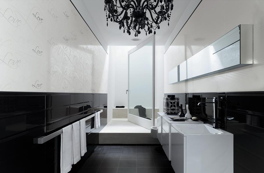 exemple déco salle de bain noire et blanc - Salle De Bain Moderne Noir Et Blanc
