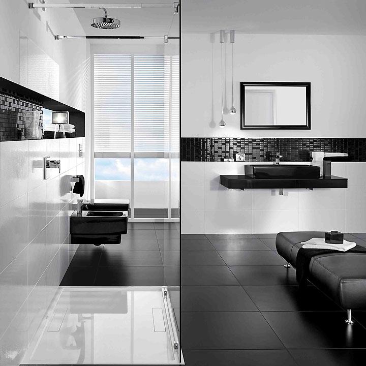 D co salle de bain noire et blanc for Salle de bain aubergine et blanc