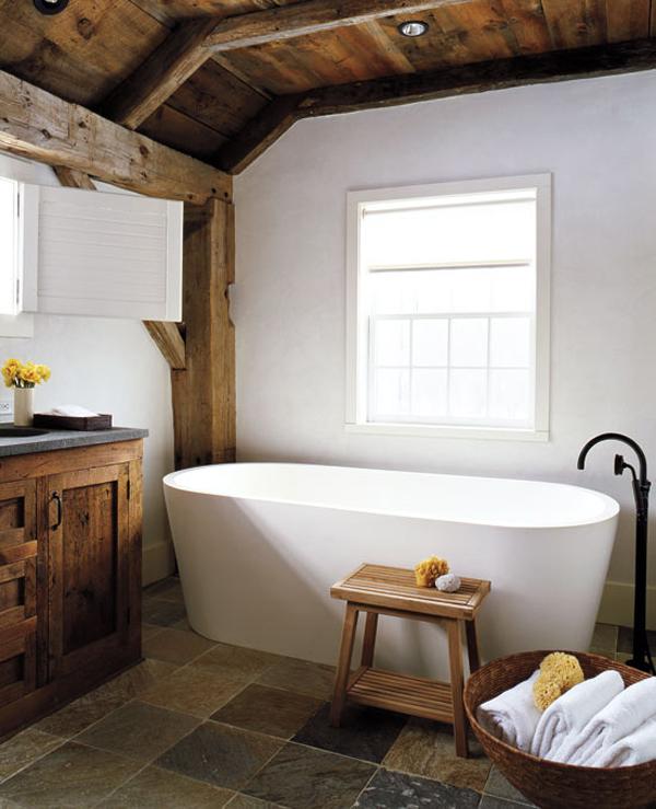 exemple déco salle de bain rustique