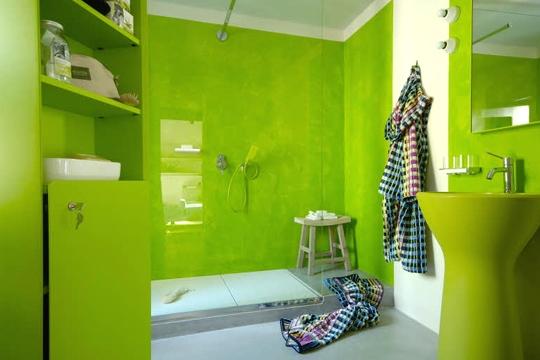 déco salle de bain vert pomme