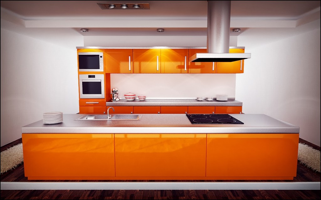 D coration cuisine moderne 2014 for Cuisine orange