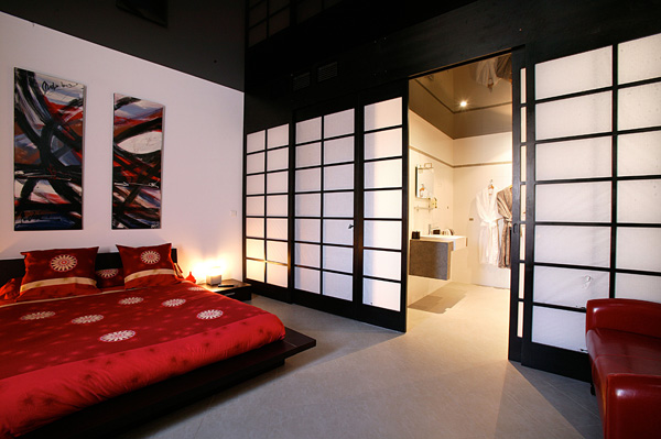 d coration salle de bain ouverte sur chambre. Black Bedroom Furniture Sets. Home Design Ideas