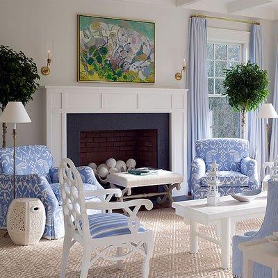 exemple décoration salon bleu