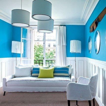 exemple décoration salon bleu turquoise