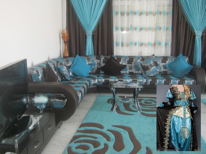 Organisation Décoration Salon Bleu Turquoise