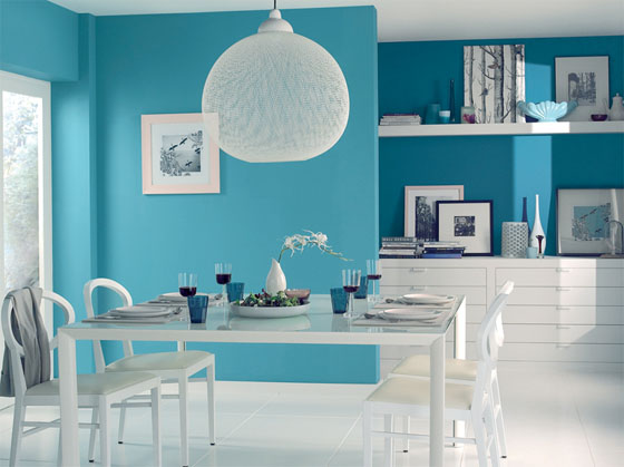Decoration salon bleu - Salon bleu turquoise ...