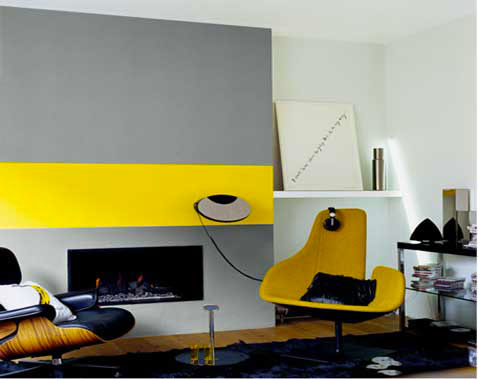 D coration salon gris et jaune for Decoration jaune
