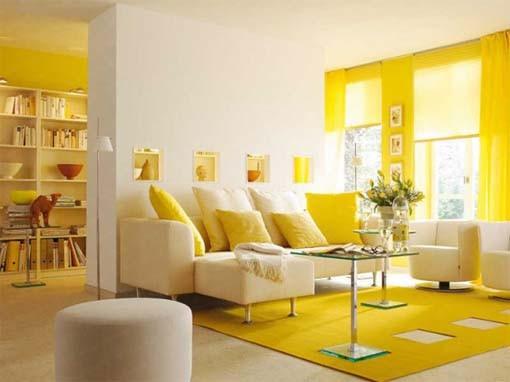 Décoration salon gris et jaune