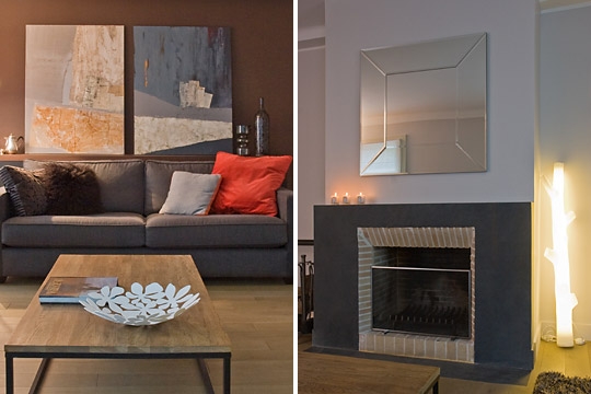 décoration salon gris et marron